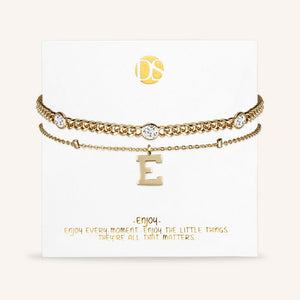 """Say my Name"" Curb and Rolo Layered Chains Initial Bracelet"