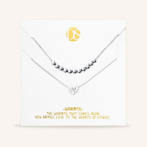 """Love Letter"" Set of Two Heart Initial Charm & Polished Beads Layering Necklaces"