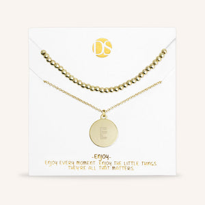 """One and Only"" Set of Two Initial Disc & Polished Beads Layering Necklaces"