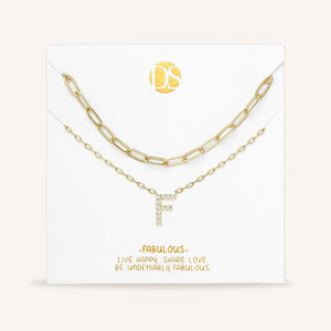 """My Own Sparkle"" Set of Two Pave Initial & Clip Chain Layering Necklaces"