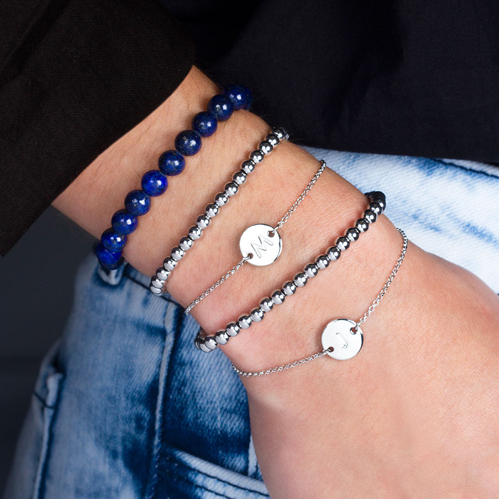 """One and Only"" Set of Two Initial Disc & Stretch Polished Beads Layering Bracelets"