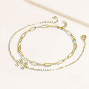 """My Own Sparkle"" Set of Two Pave Initial & Clip Chain Layering Bracelets"