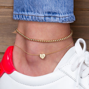 """Love Letter"" Set of Two Initial Charm & Polished Beads Layering Anklets"