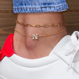 """My Own Sparkle"" Set of Two Pave Initial & Clip Chain Layering Anklets"