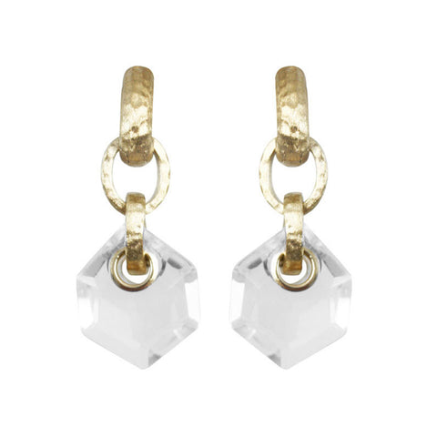 """Doyenne"" Clear Faceted Crystal Earrings"