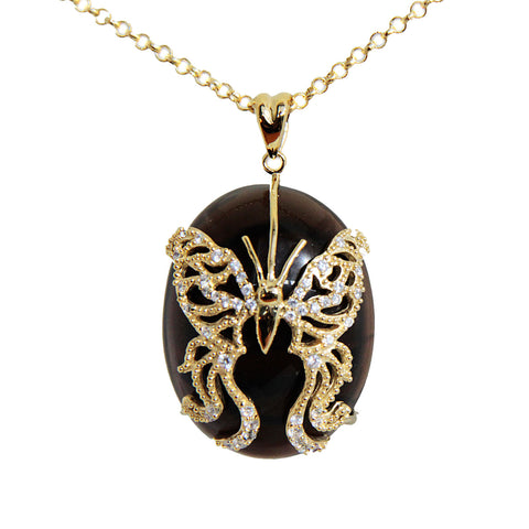 "18K YG Plated ""Amulet"" Crystal Butterfly Necklace"