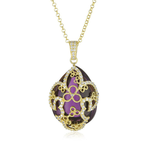 "18K YG Plated ""Amulet"" Crystal Fleur-De-Lis Necklace"