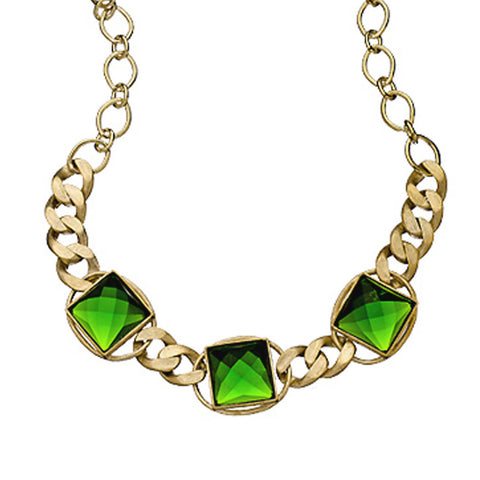 18K Yg Plated, Green Crystal Squares, Linked Candy Necklace