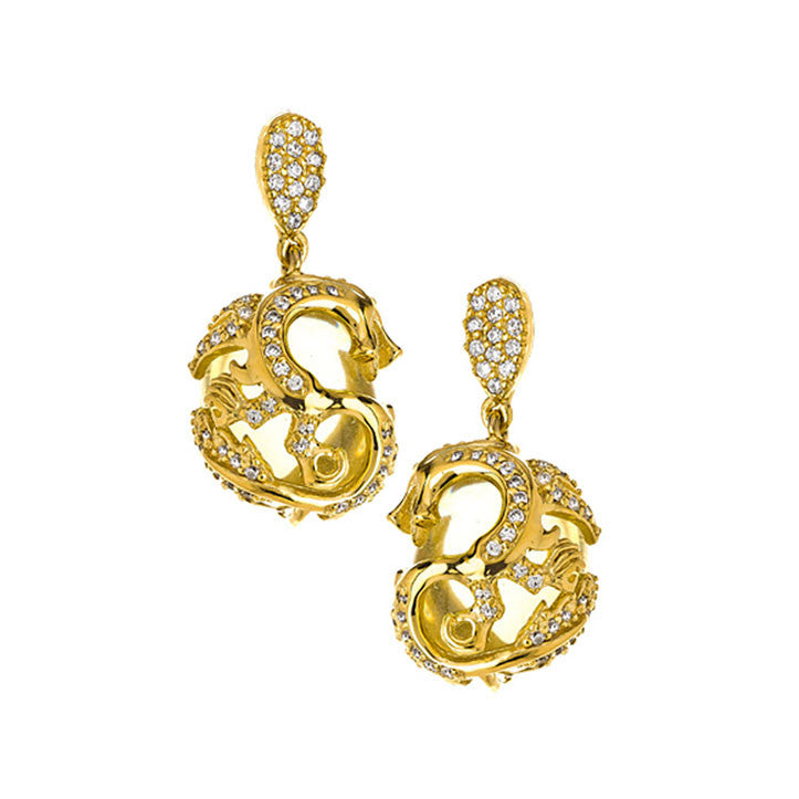 "18K YG Plated ""Amulet"" Crystal Dragon Earrings"