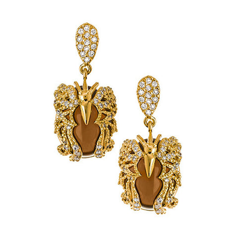 "18K YG Plated ""Amulet"" Crystal Butterfly Earrings"