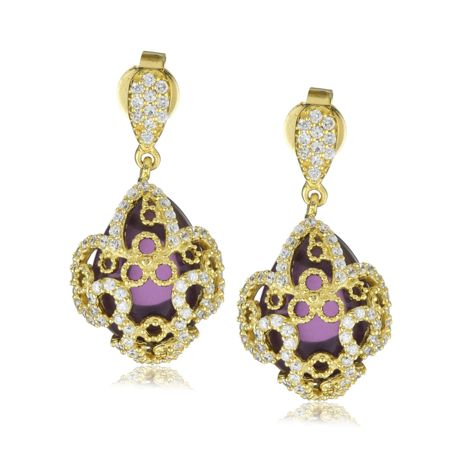 "18K YG Plated ""Amulet"" Crystal Fleur-De-Lis Earrings"