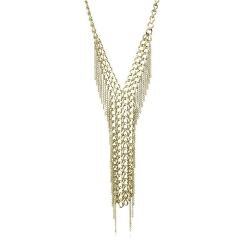 18K Yg Plated, Glam Tie Necklace