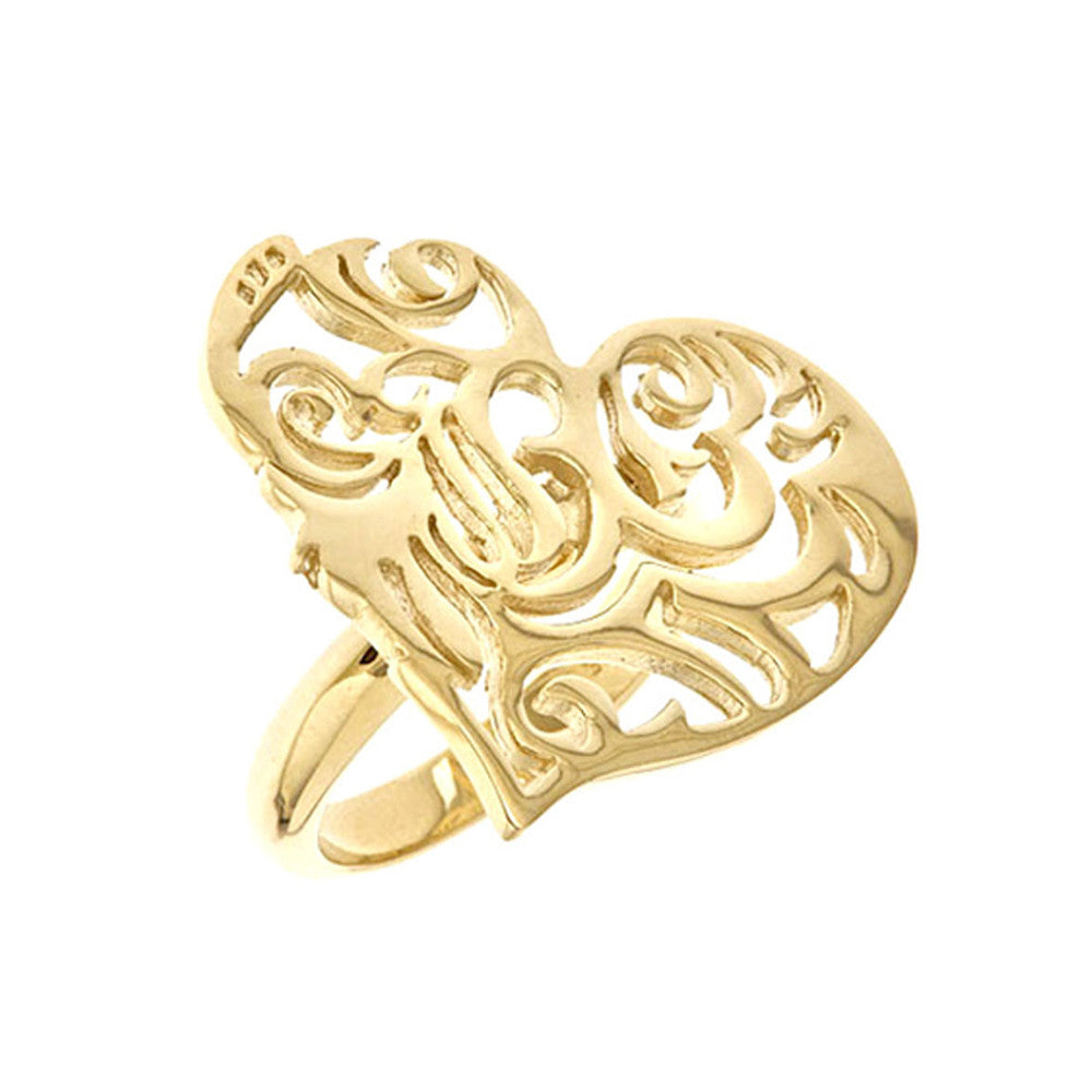 18K Yg Plated Sterling Silver, Sacred Heart Ring