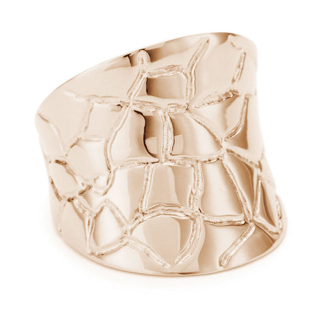 18K Rose Gold Plated Sterling Silver, Concave Croco Ring