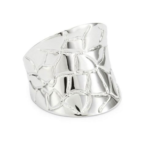 Rhodium Plated Sterling Silver, Concave Croco Ring