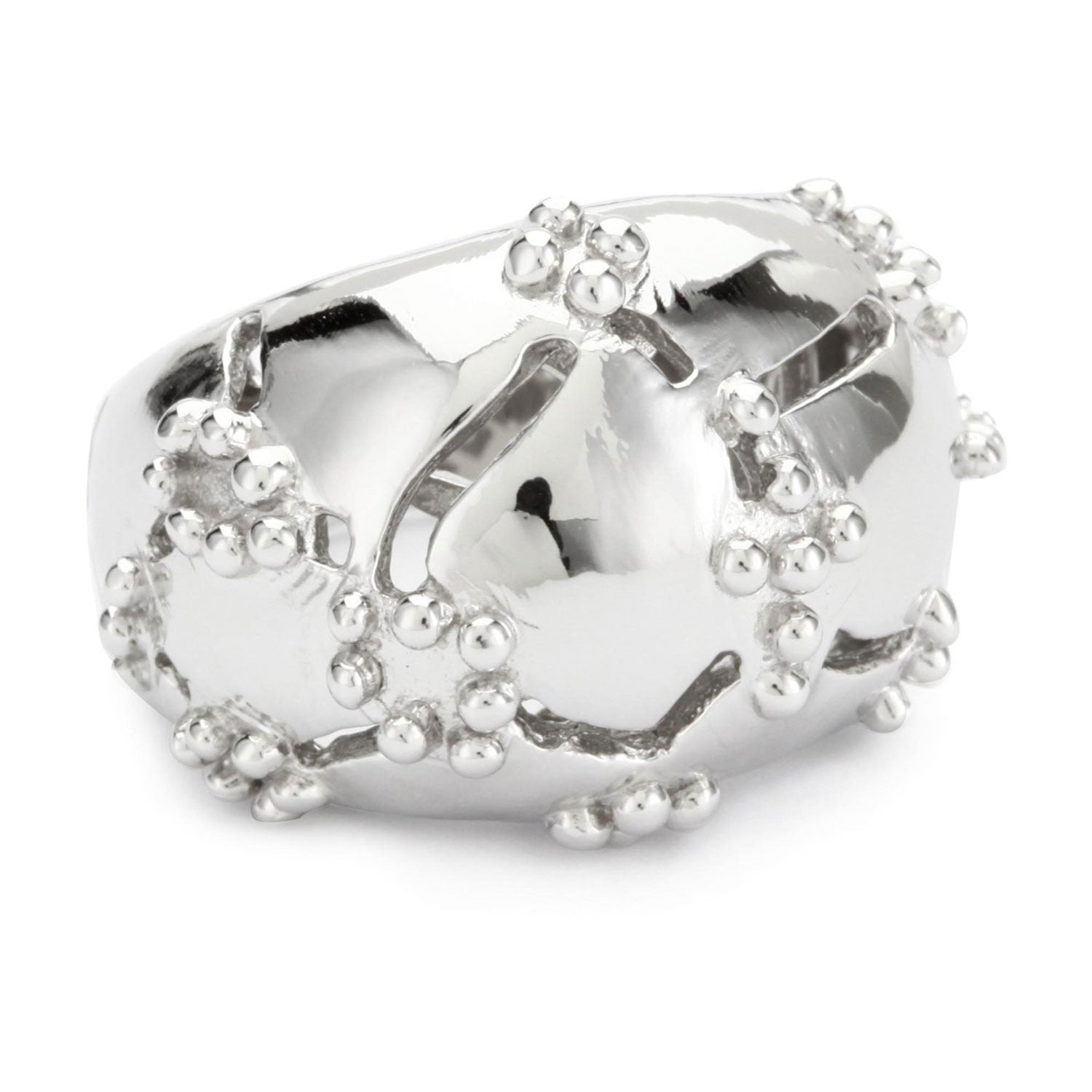 Rhodium Plated Sterling Silver, Croco Dome Ring