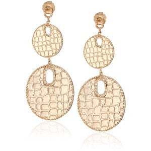 18K Rg Plated Sterling Silver, Graduated Croco Disc Earrings