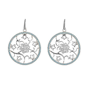 """Lotus"" Cut-Out Earrings in Sterling Silver"
