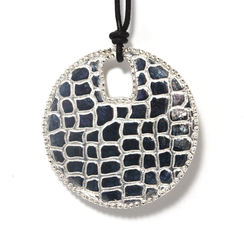 Rhodium Plated Sterling Silver, Croco Disc Pendant Necklace