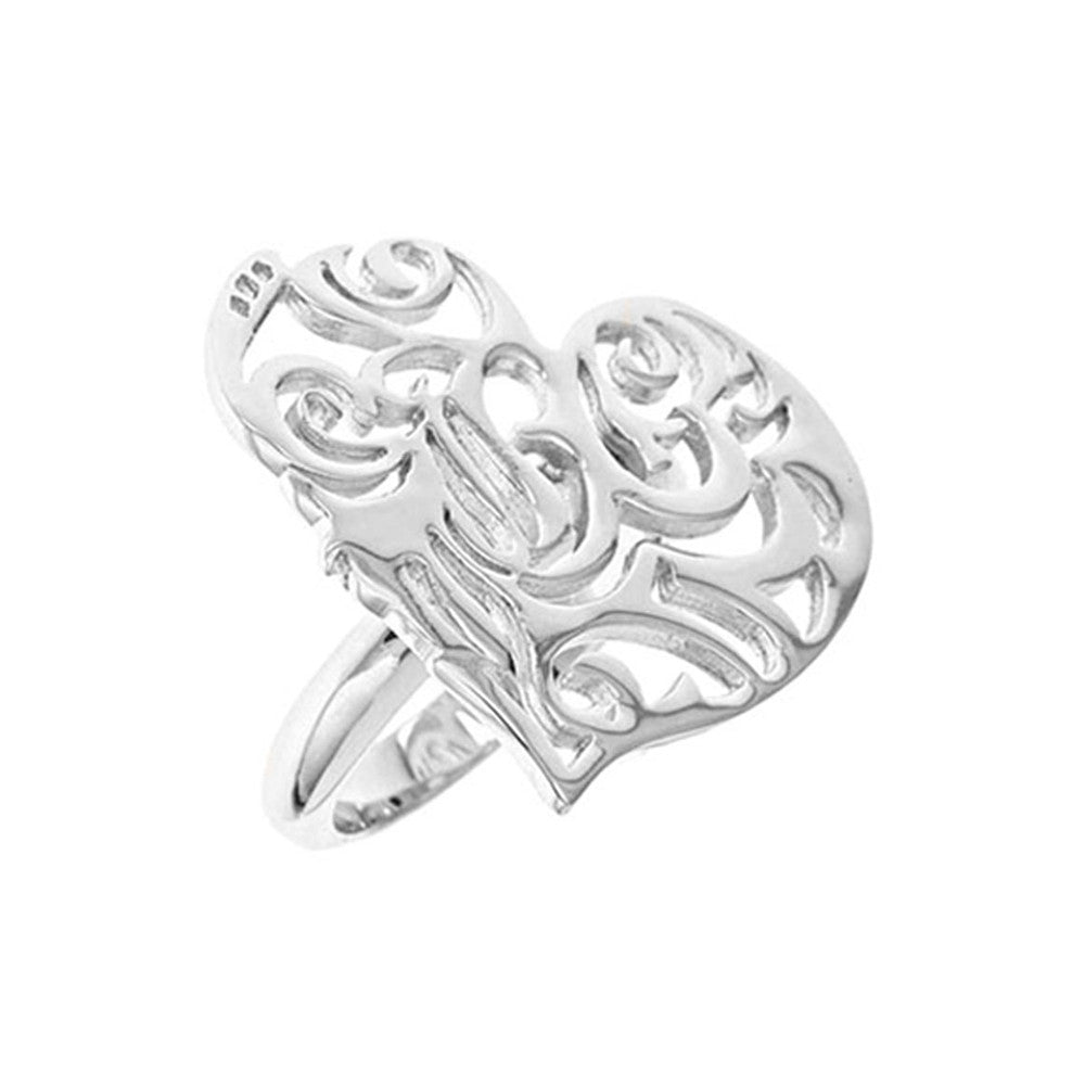 Rhodium Plated Sterling Silver, Sacred Heart Ring