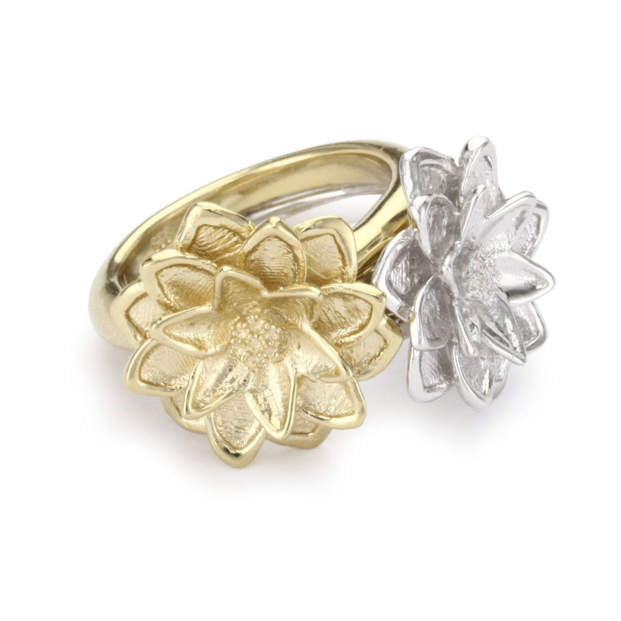 Set Of Two, 18K Yg And Rhodium Plated Sterling Silver, Lotus Rings
