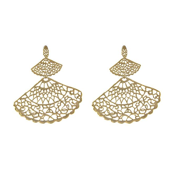 Cut out Fan Design 18K Gold plated over Sterling Silver Drop Earrings