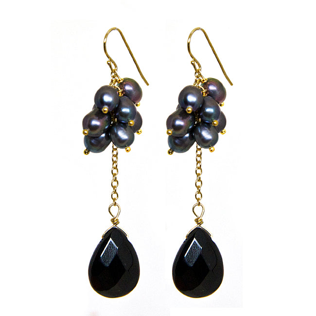 Grey Freshwater Pearl Faceted Onyx Semi Precious Stone 18K Gold over Sterling Silver Drop Earrings