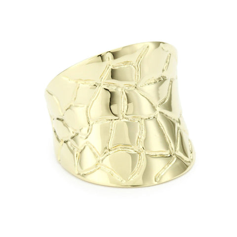 18K Yg Plated Sterling Silver, Concave Croco Ring