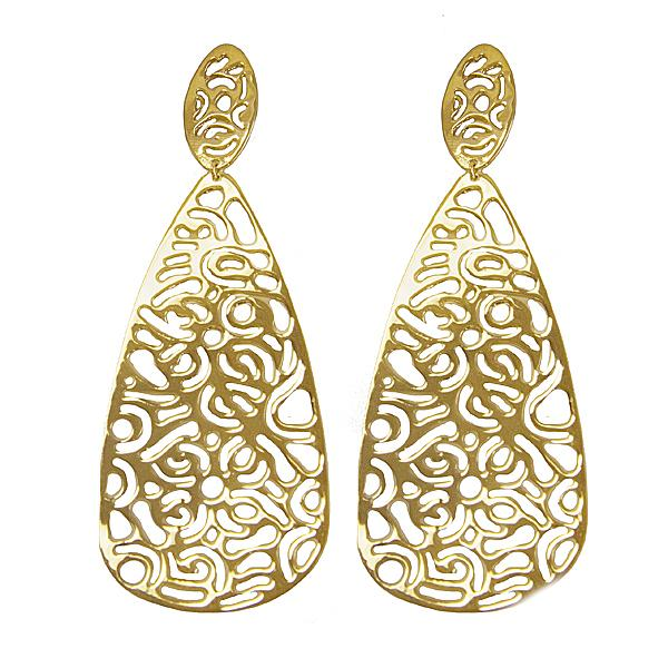 Cut out Design 18K Gold plated over Sterling Silver Drop Earrings