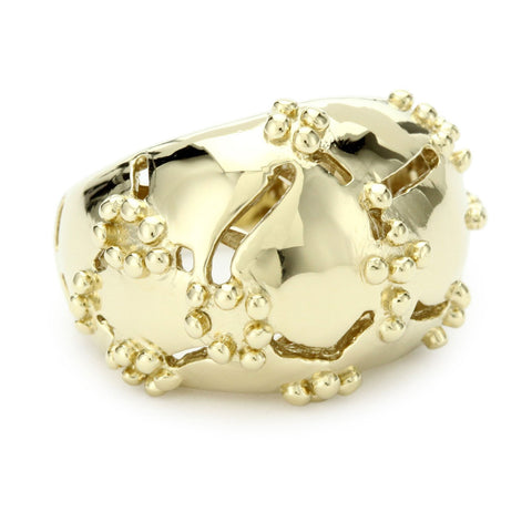 18K Yg Plated Sterling Silver, Croco Dome Ring