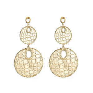 Graduated Croco Disc Earrings More Colors