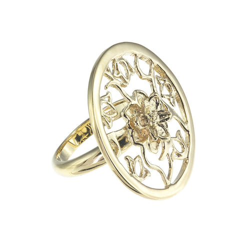 18K Yg Plated Sterling Silver, Lotus, Cut-Out Ring