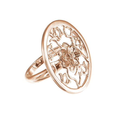 18K Rg Plated Sterling Silver Lotus Cut-Out Ring