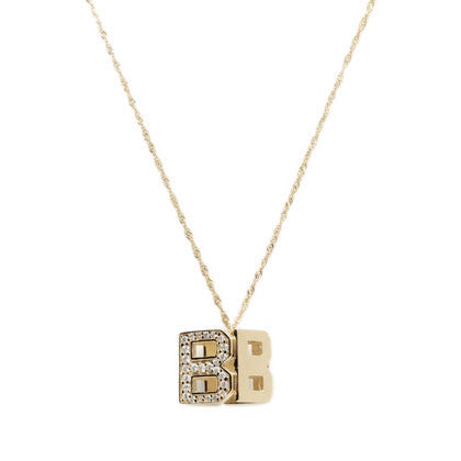 18K Gold Over Sterling Silver White CZ DS Cube Necklace