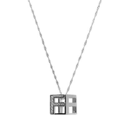 Rhodium Plated Sterling Silver White CZ DS Cube Necklace