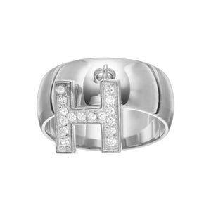 Rhodium Plated Sterling Silver Ds  White Cz Cube Charm Letter