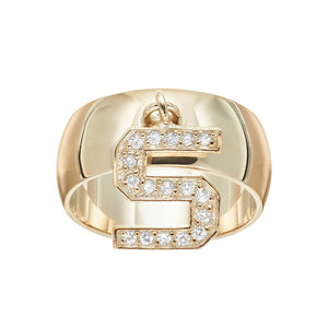 18K Gold Vermeil Sterling Silver White Cz Ds Cube Charm Letter