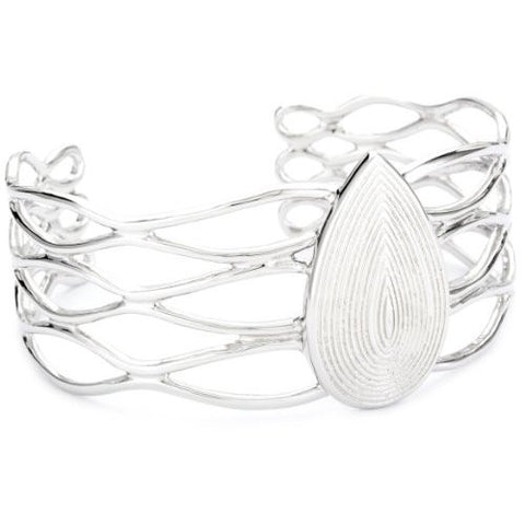 Rhodium Plated Sterling Silver, Gypsy Cuff