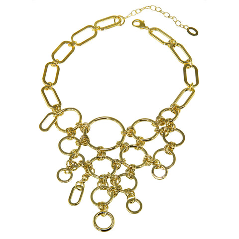 """CLUSTER LOVE"" 18K GOLD PLATED OVER STERLING SILVER CUBIC ZIRCONIAS NECKLACE"