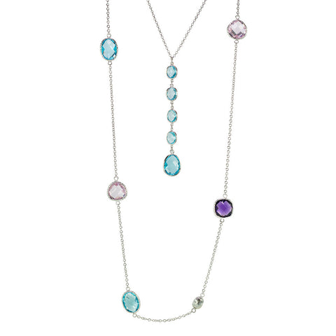 """Lido Duo"" Set of 2 Blue And Rose Crystal Necklace"