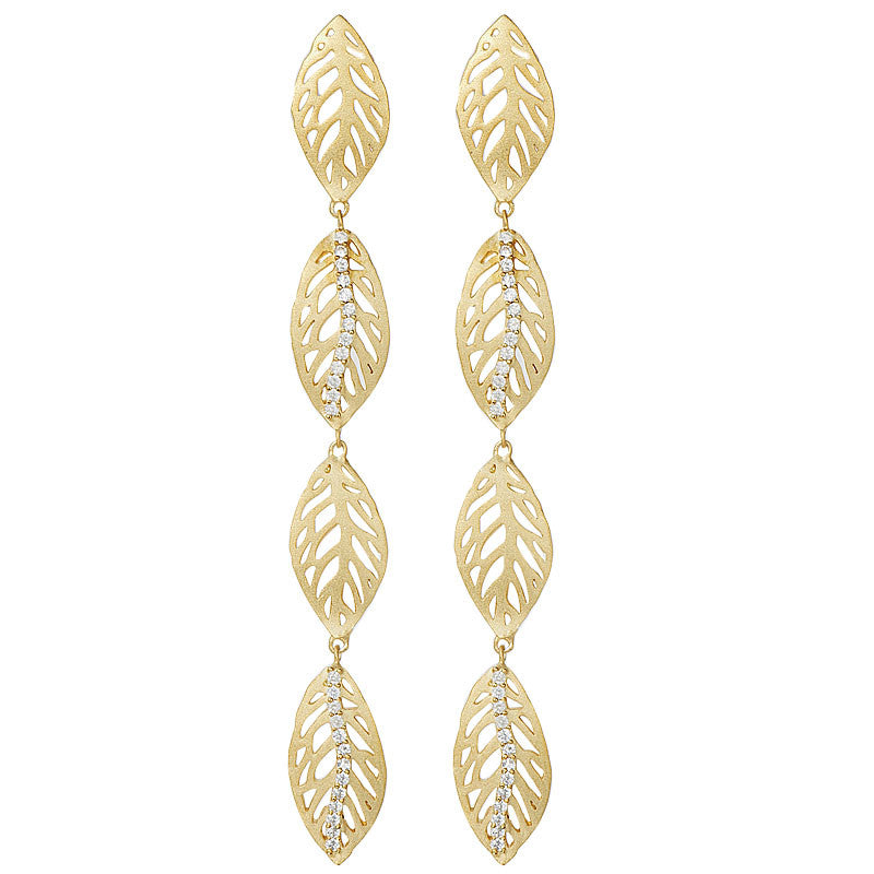 18K YG Plated Brass Clear CZ Falling Leaves Linear