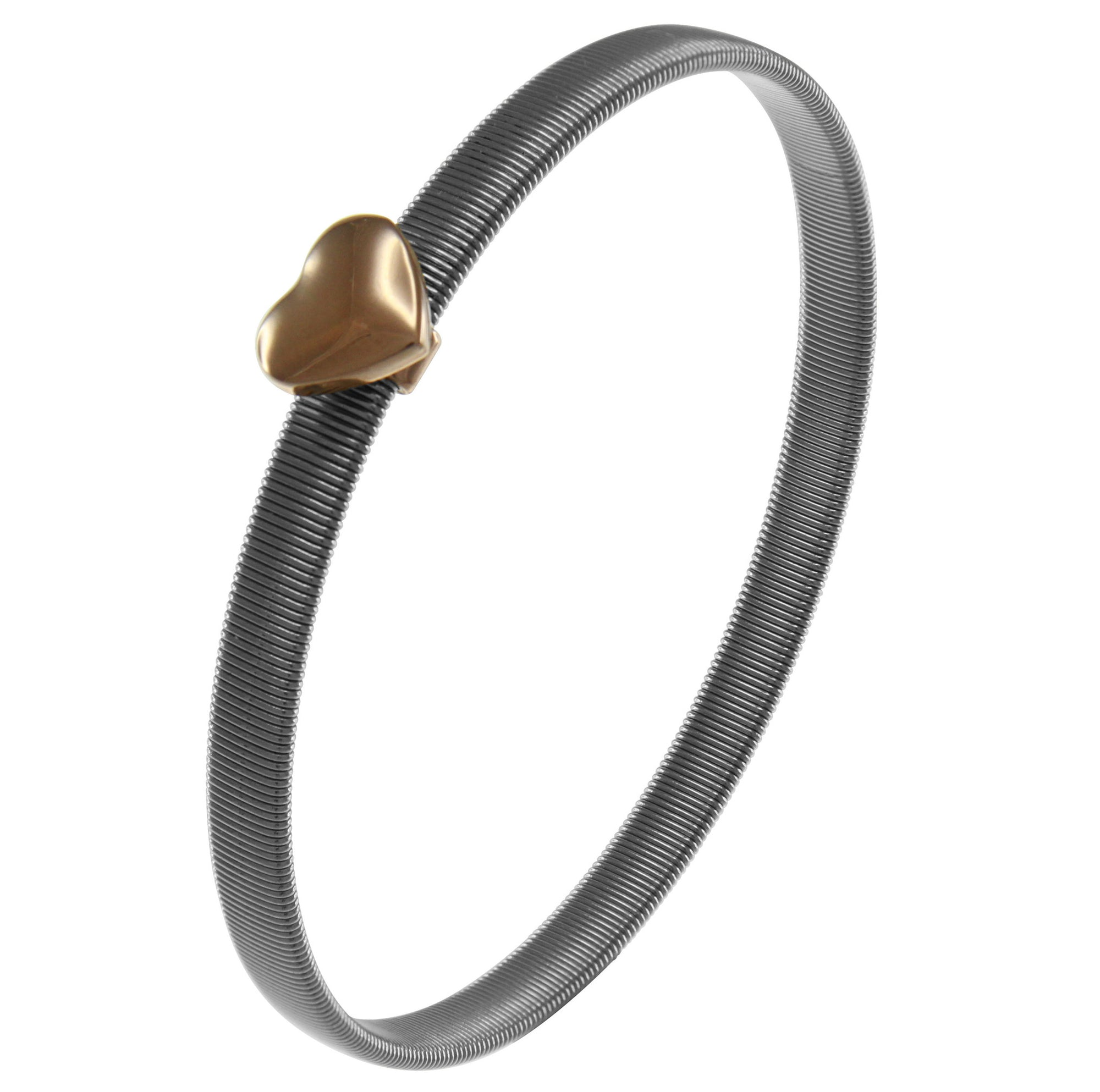 """Heart of the City"" Two-Tone with Puffed Heart Bangle Rose Gold"