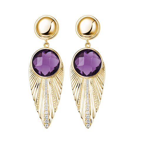 """Deco Owl"" Purple Crystal Goldtone Drop Earrings"