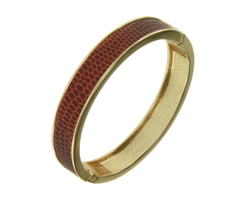 """Sabi Colori"" Thin Sienna Brown Lizardprint Bangle Bracelet"