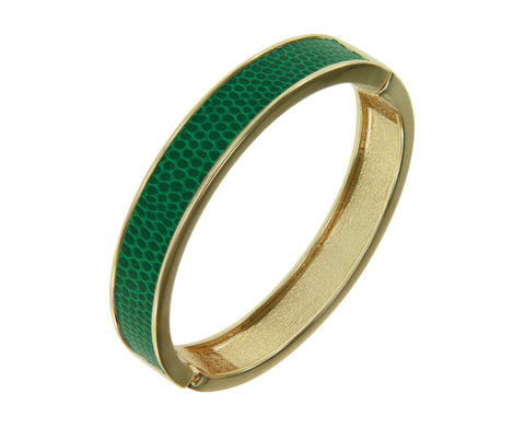 """Sabi Colori"" Thin Kelly Green Lizardprint Bangle Bracelet"