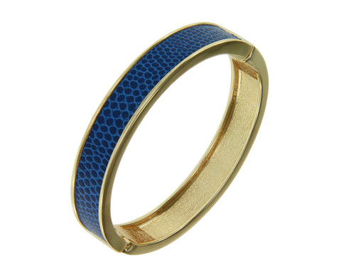 """Sabi Colori"" Thin Catalina Blue Lizardprint Bangle Bracelet"