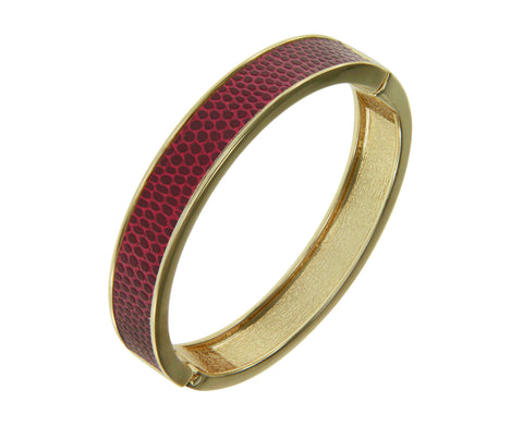 """Sabi Colori"" Thin Burgundy Red Lizardprint Bangle Bracelet"