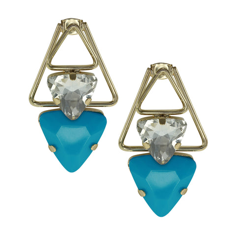 """Front and Back"" Turquoise Triangle crystal link Earrings"