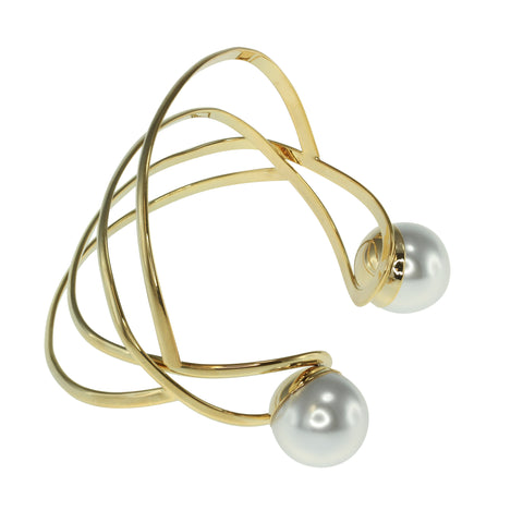 Glass Pearl Open Wire Cuff