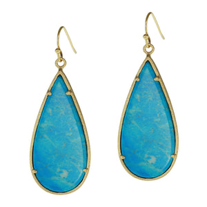 Sliced Stone Teardrop Earrings More Colors